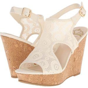 Fergalicious Valeria wedge heel ivory lace sandal